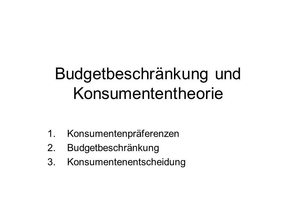 Budgetbeschränkung und Konsumententheorie
