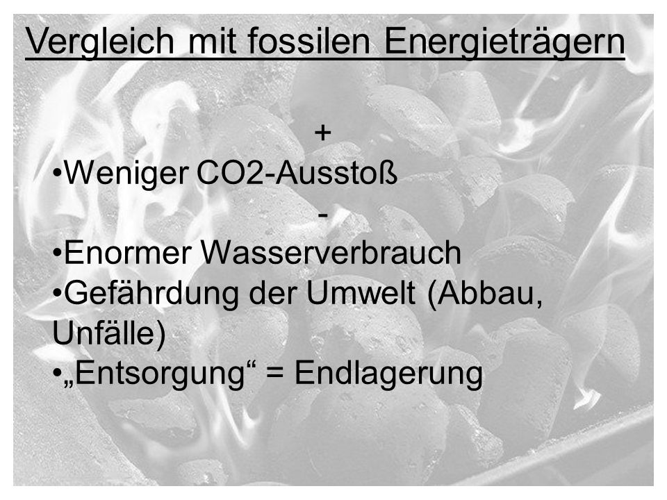 Vergleich mit fossilen Energieträgern