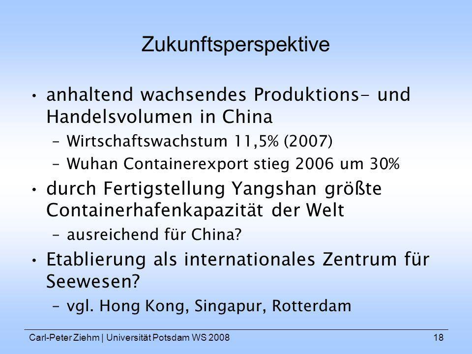Zukunftsperspektive anhaltend wachsendes Produktions- und Handelsvolumen in China. Wirtschaftswachstum 11,5% (2007)