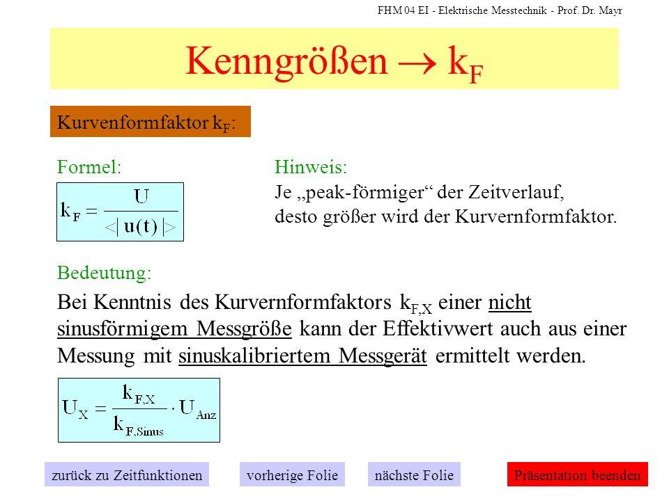 """Kenngrößen  kF Kurvenformfaktor kF: Formel: Hinweis: Je """"peak-förmiger der Zeitverlauf, desto größer wird der Kurvernformfaktor."""