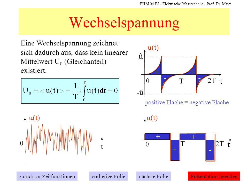 Wechselspannung Eine Wechselspannung zeichnet sich dadurch aus, dass kein linearer Mittelwert U0 (Gleichanteil) existiert.