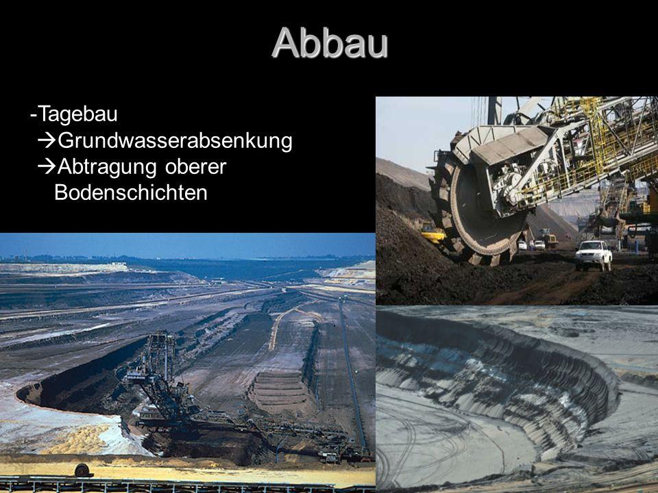 Abbau Tagebau Grundwasserabsenkung Abtragung oberer Bodenschichten