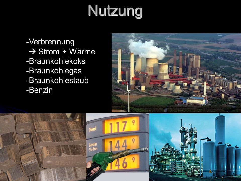 Nutzung Verbrennung  Strom + Wärme Braunkohlekoks Braunkohlegas