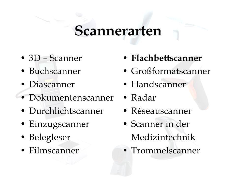 Scannerarten 3D – Scanner Buchscanner Diascanner Dokumentenscanner