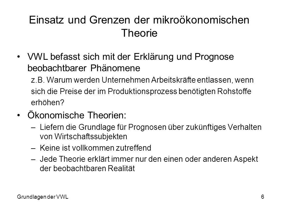 Einsatz und Grenzen der mikroökonomischen Theorie