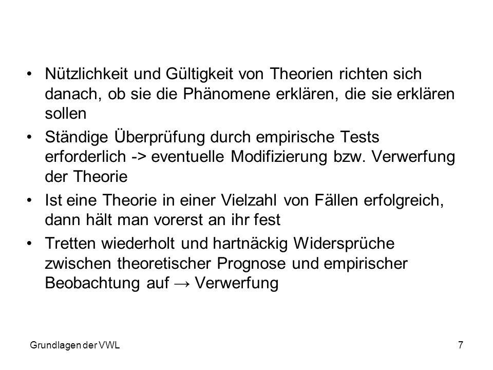 Nützlichkeit und Gültigkeit von Theorien richten sich danach, ob sie die Phänomene erklären, die sie erklären sollen