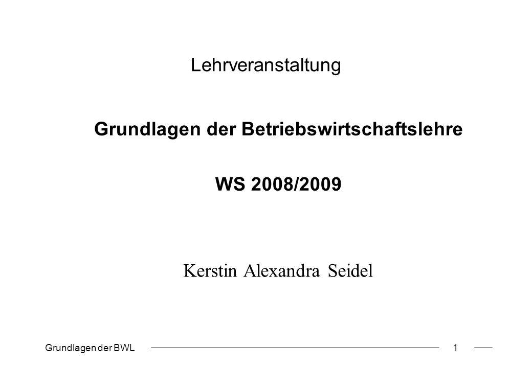 Grundlagen der Betriebswirtschaftslehre WS 2008/2009
