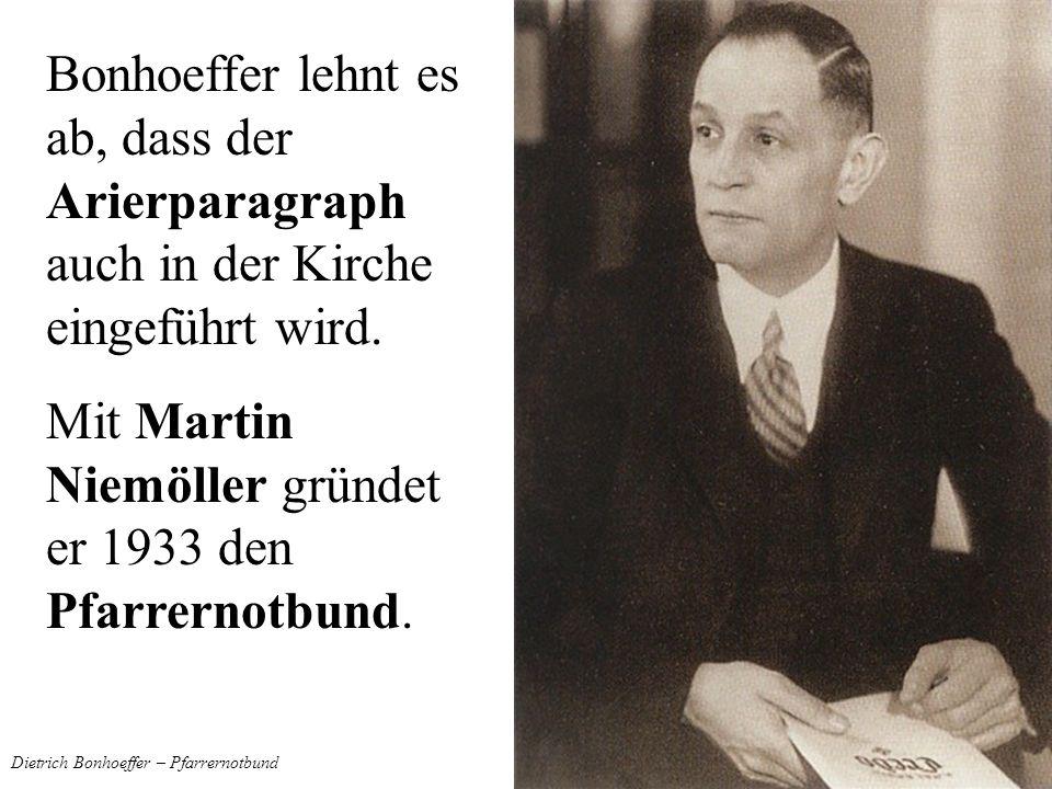 Dietrich Bonhoeffer – Pfarrernotbund