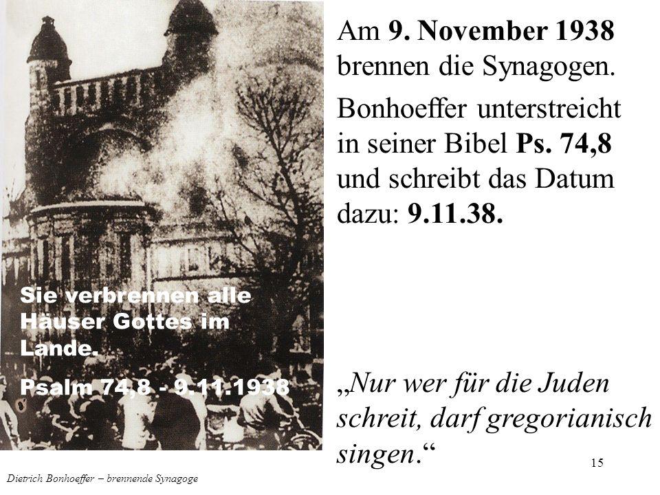 Dietrich Bonhoeffer – brennende Synagoge
