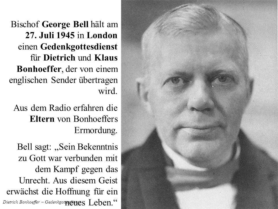 Dietrich Bonhoeffer – Gedenkgottesdienst