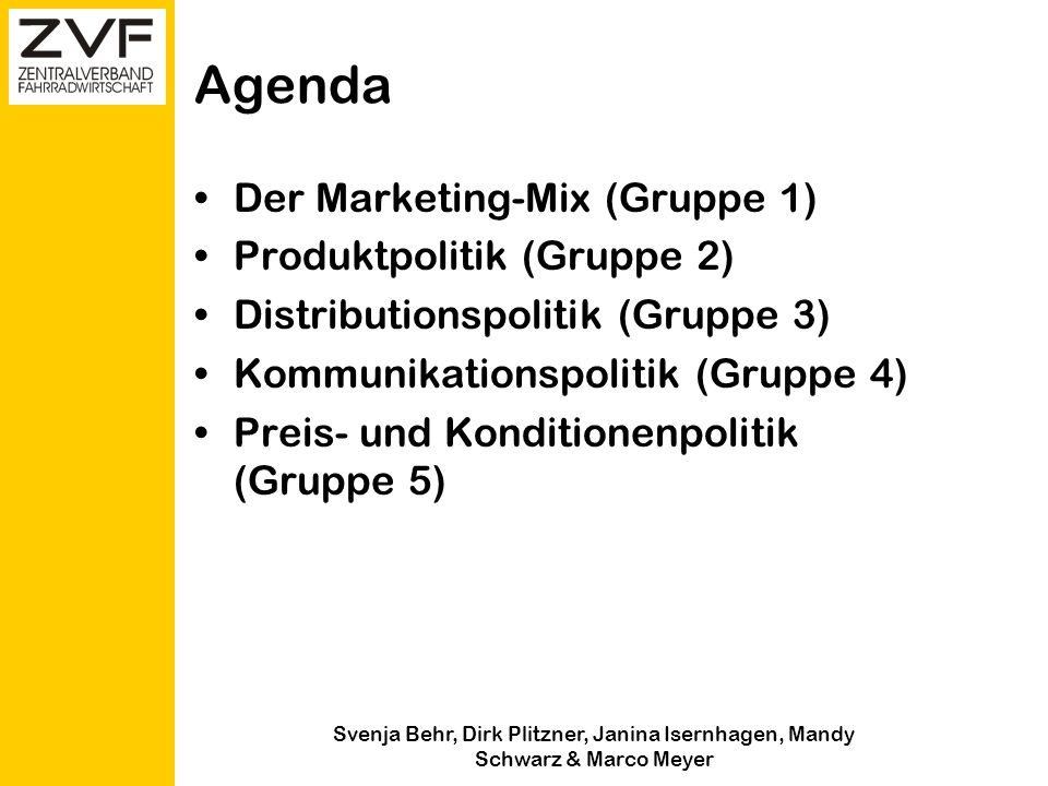 Agenda Der Marketing-Mix (Gruppe 1) Produktpolitik (Gruppe 2)