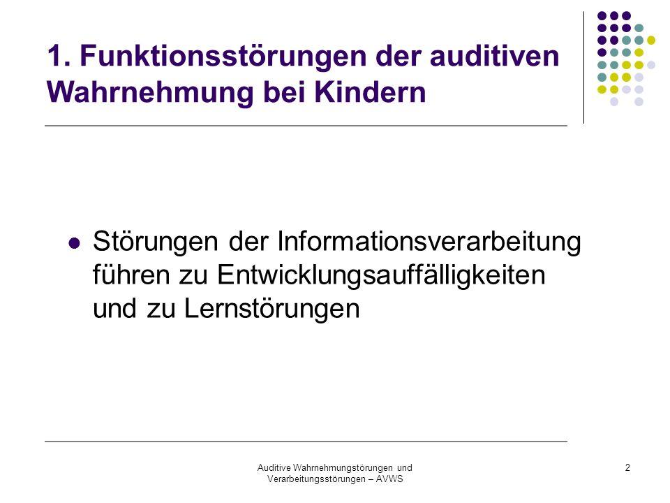 1. Funktionsstörungen der auditiven Wahrnehmung bei Kindern