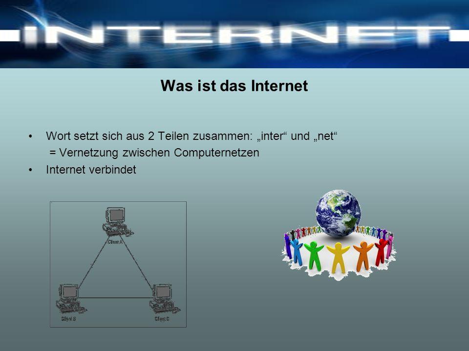 """Was ist das Internet Wort setzt sich aus 2 Teilen zusammen: """"inter und """"net = Vernetzung zwischen Computernetzen."""
