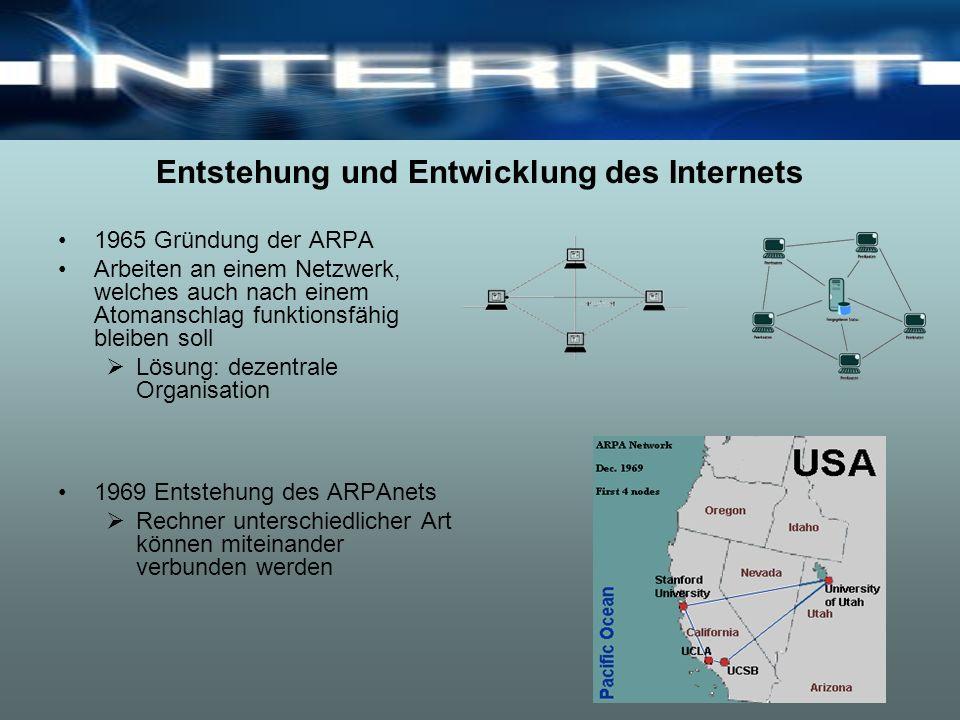 Entstehung und Entwicklung des Internets