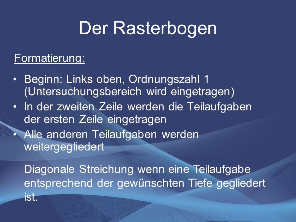 Der Rasterbogen Formatierung: