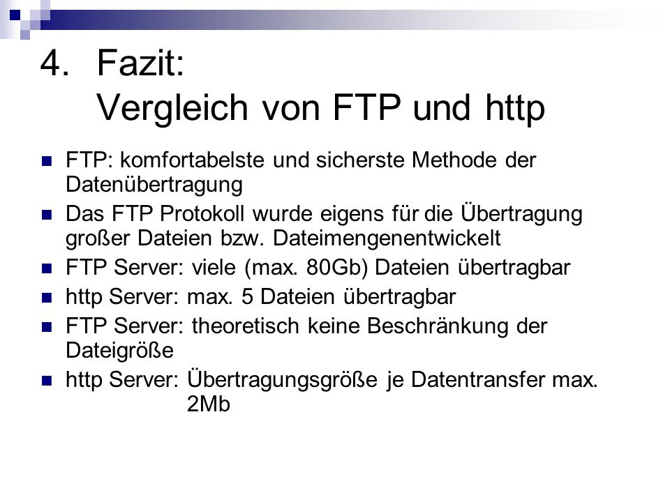 Fazit: Vergleich von FTP und http