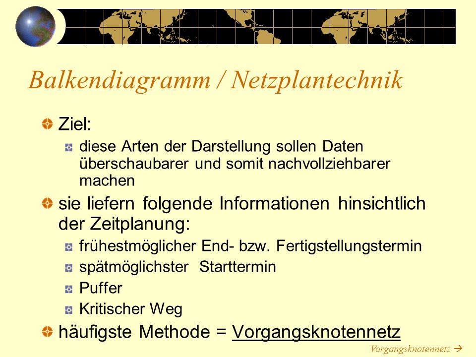 Balkendiagramm / Netzplantechnik