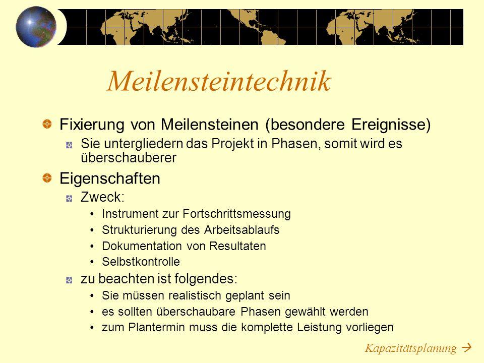 Meilensteintechnik Fixierung von Meilensteinen (besondere Ereignisse)