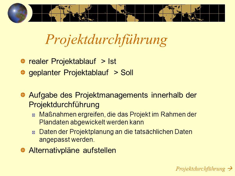 Projektdurchführung realer Projektablauf > Ist