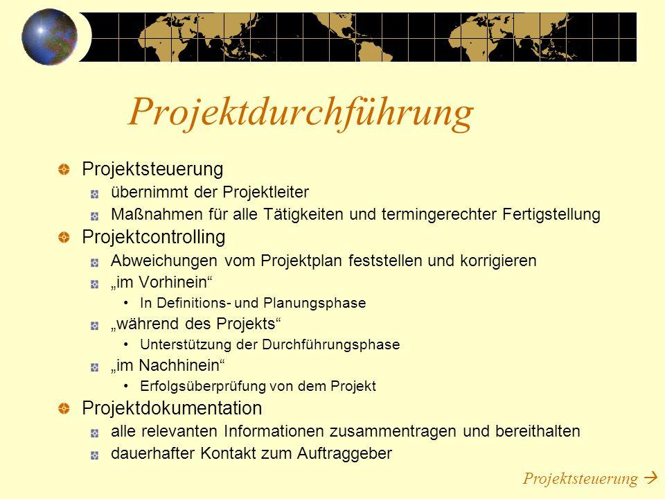 Projektdurchführung Projektsteuerung Projektcontrolling