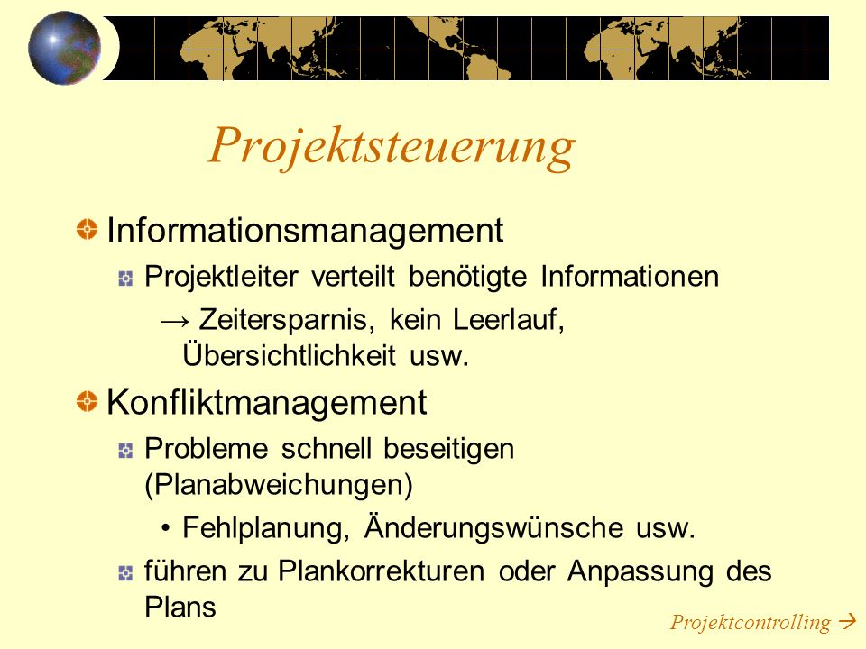 Projektsteuerung Informationsmanagement Konfliktmanagement