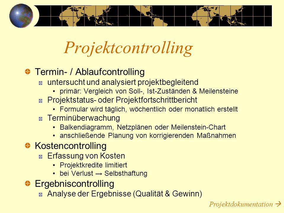 Projektcontrolling Termin- / Ablaufcontrolling Kostencontrolling