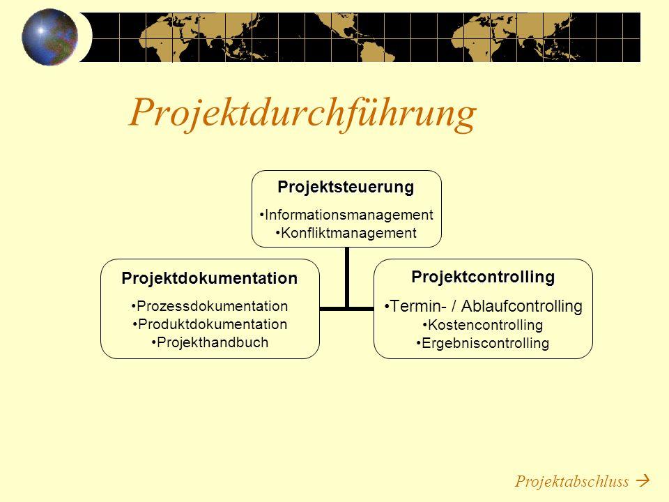 Projektdurchführung Projektabschluss 