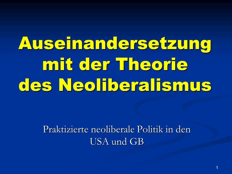 Auseinandersetzung mit der Theorie des Neoliberalismus