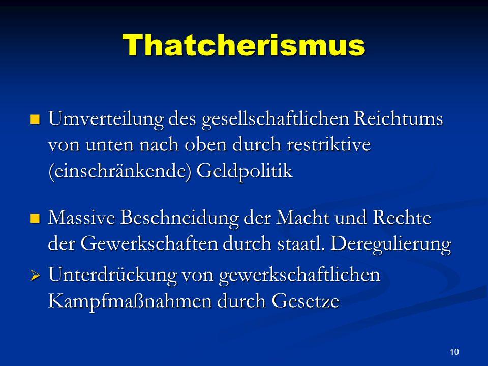ThatcherismusUmverteilung des gesellschaftlichen Reichtums von unten nach oben durch restriktive (einschränkende) Geldpolitik.