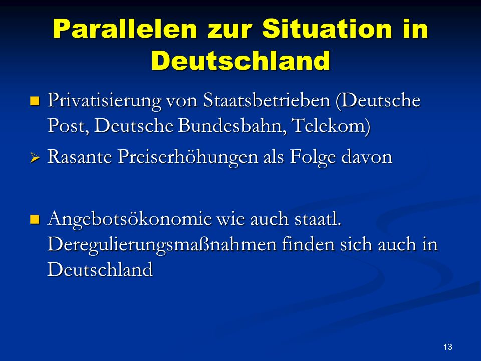 Parallelen zur Situation in Deutschland