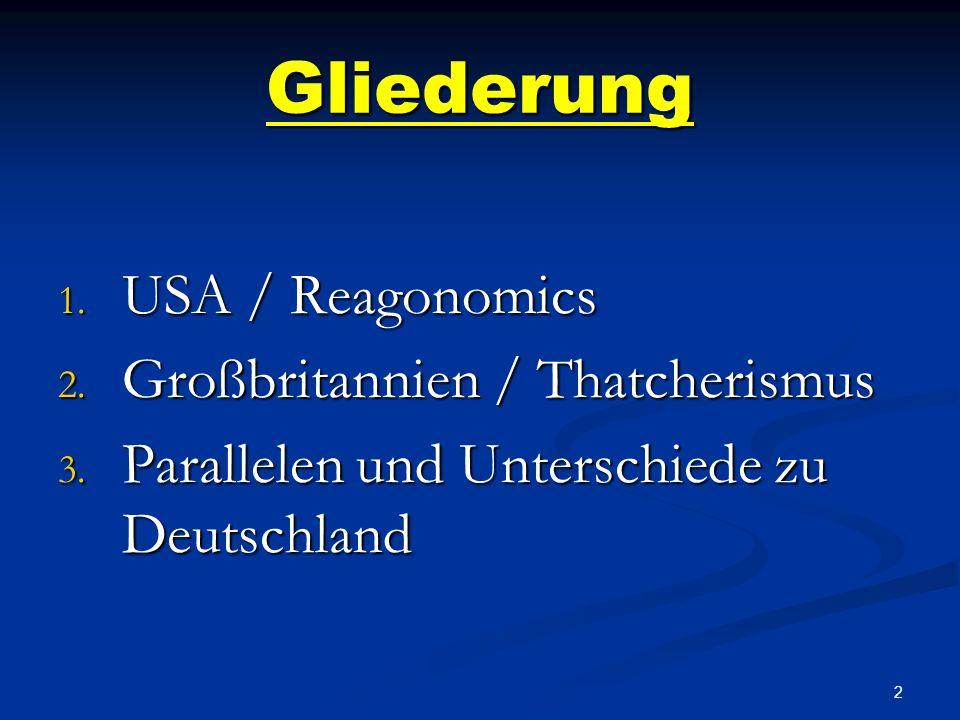 Gliederung USA / Reagonomics Großbritannien / Thatcherismus