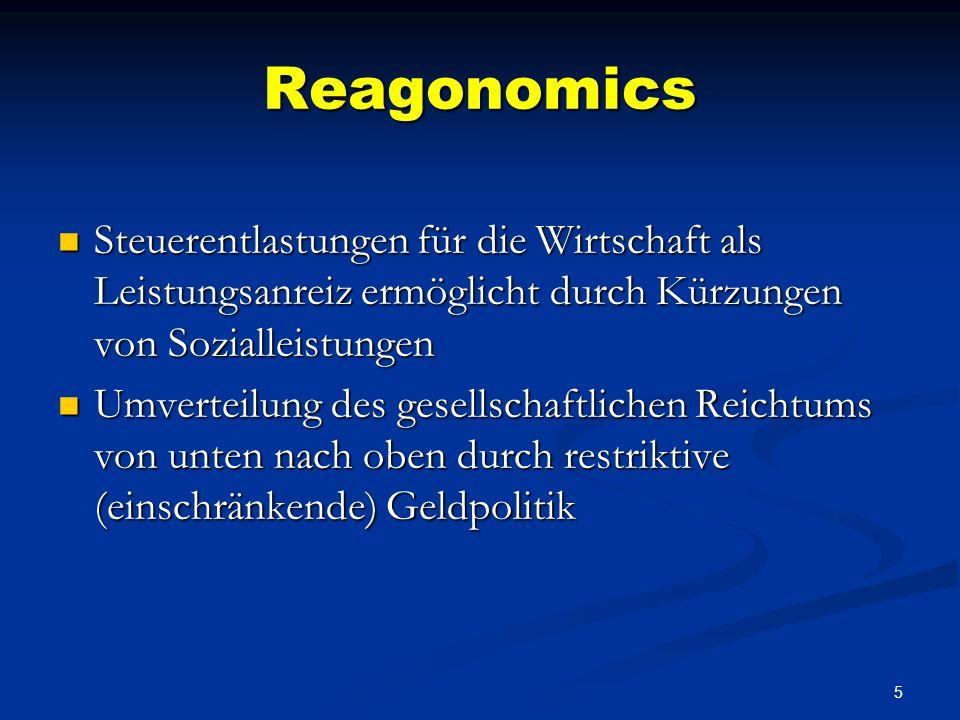 Reagonomics Steuerentlastungen für die Wirtschaft als Leistungsanreiz ermöglicht durch Kürzungen von Sozialleistungen.