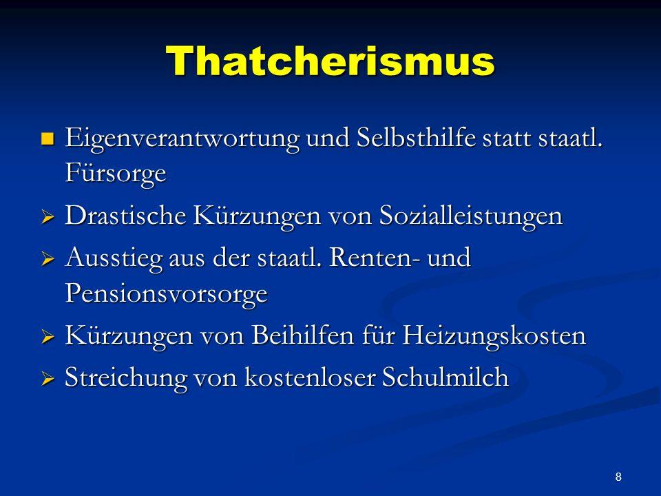 ThatcherismusEigenverantwortung und Selbsthilfe statt staatl. Fürsorge. Drastische Kürzungen von Sozialleistungen.