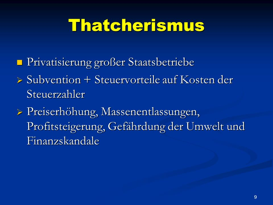 Thatcherismus Privatisierung großer Staatsbetriebe