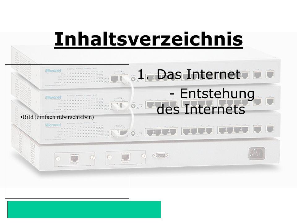 Inhaltsverzeichnis Das Internet - Entstehung des Internets