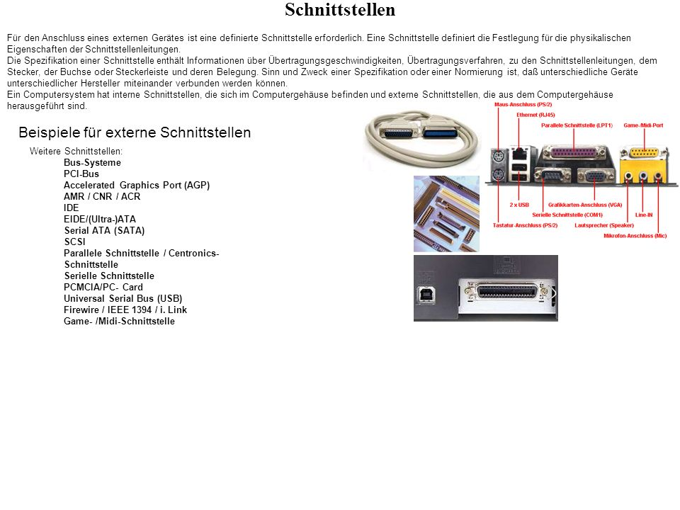 Schnittstellen Beispiele für externe Schnittstellen - ppt video ...