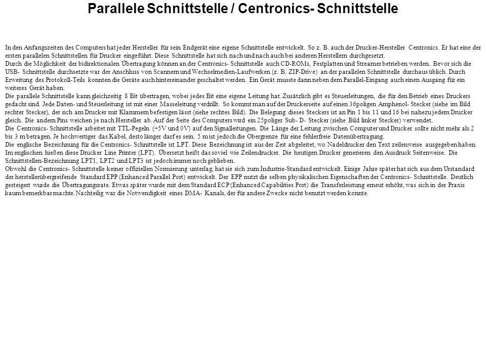 Parallele Schnittstelle / Centronics- Schnittstelle