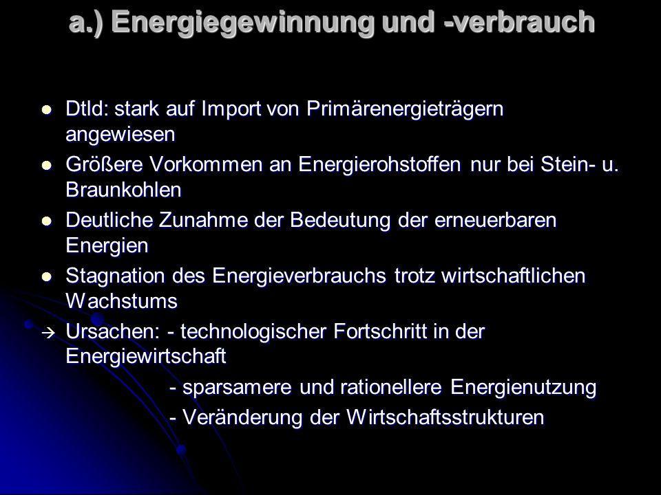 a.) Energiegewinnung und -verbrauch