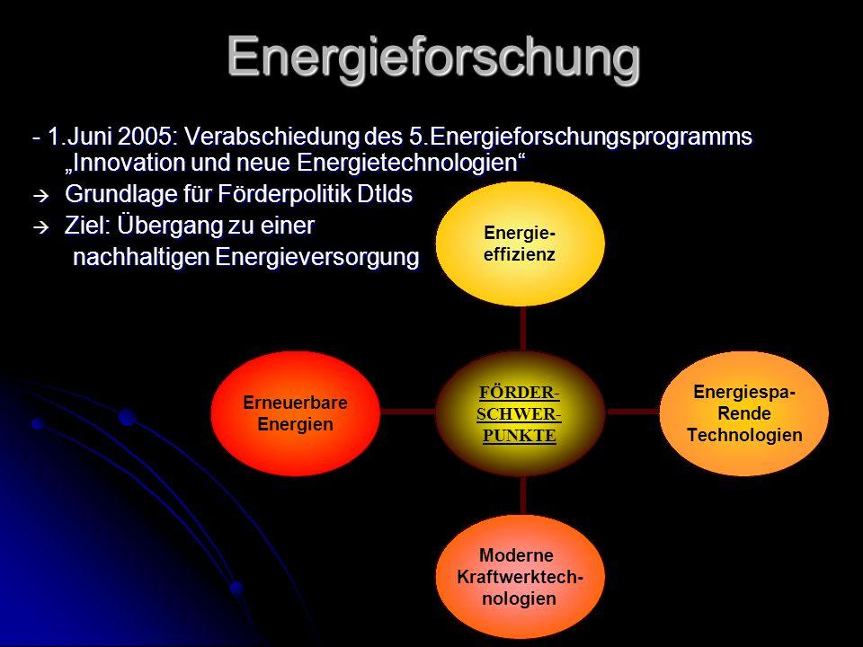 """Energieforschung - 1.Juni 2005: Verabschiedung des 5.Energieforschungsprogramms """"Innovation und neue Energietechnologien"""
