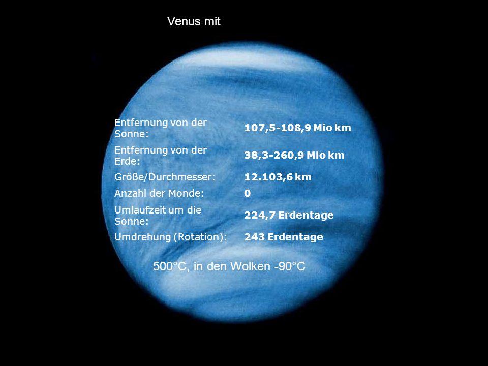 Venus mit 500°C, in den Wolken -90°C 243 Erdentage