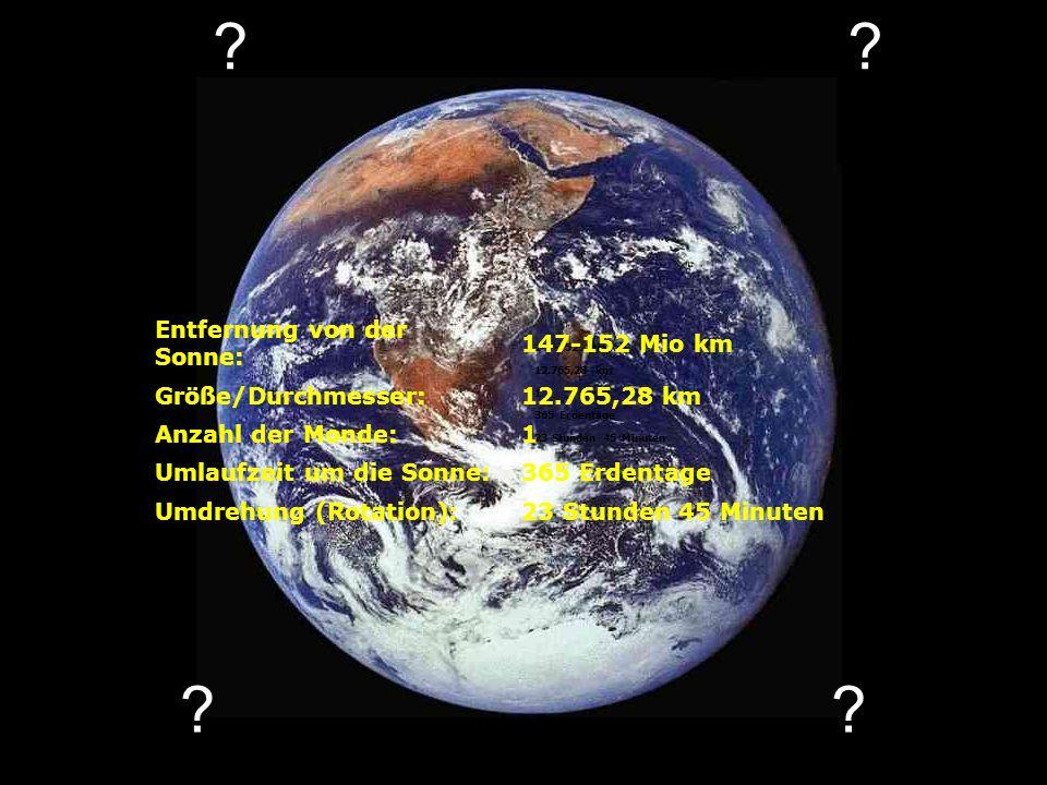 Entfernung von der Sonne: 147-152 Mio km Größe/Durchmesser: