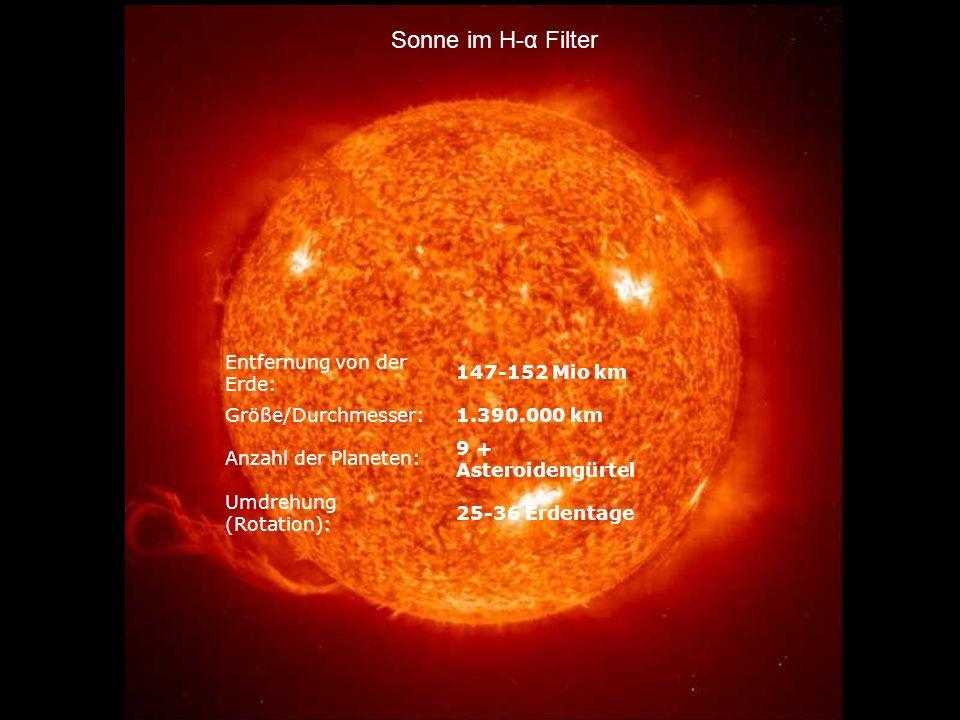 Sonne im H-α Filter Entfernung von der Erde: 147-152 Mio km