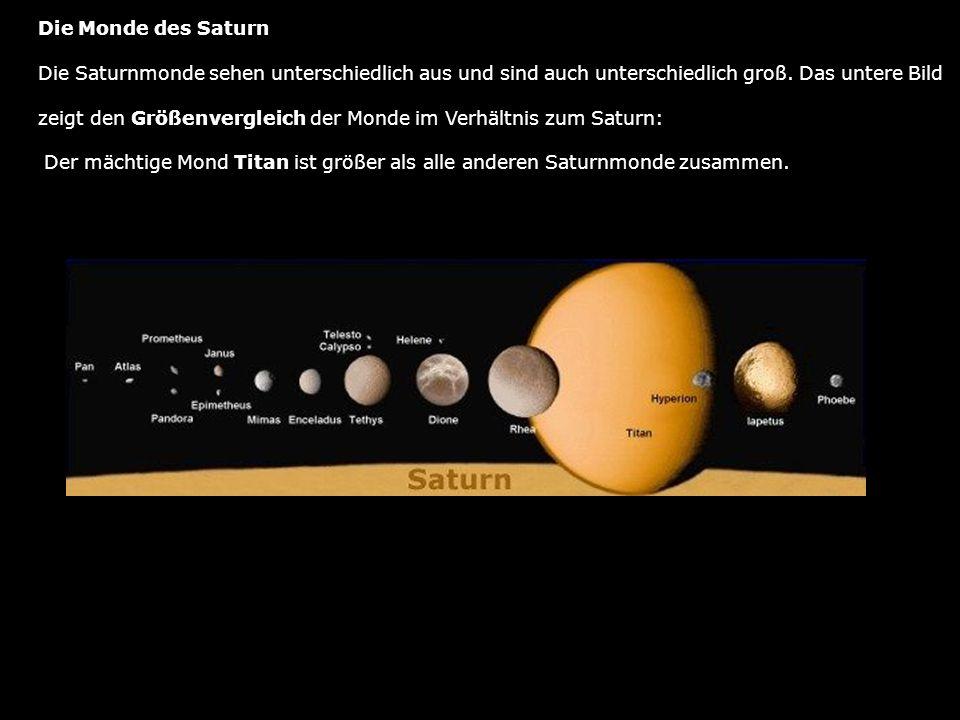 Die Monde des Saturn Die Saturnmonde sehen unterschiedlich aus und sind auch unterschiedlich groß. Das untere Bild.