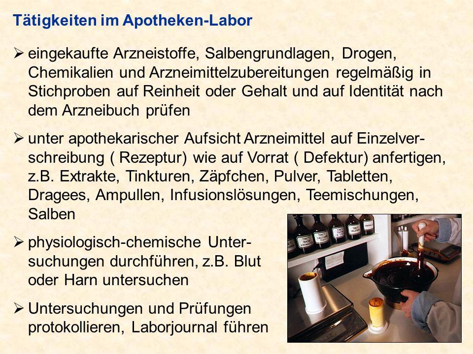 Tätigkeiten im Apotheken-Labor