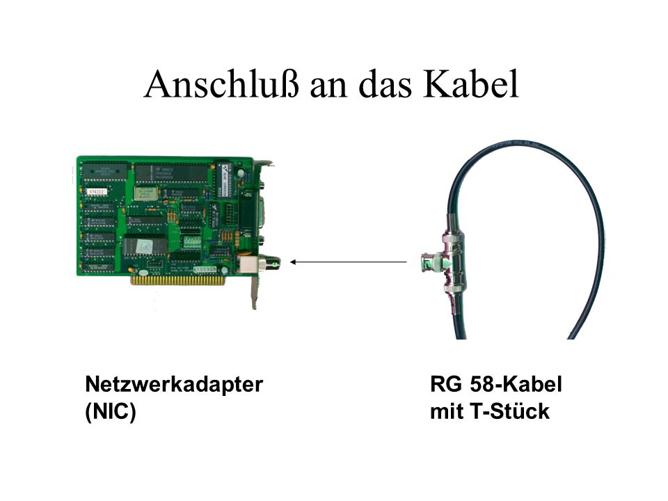 Anschluß an das Kabel Netzwerkadapter (NIC) RG 58-Kabel mit T-Stück