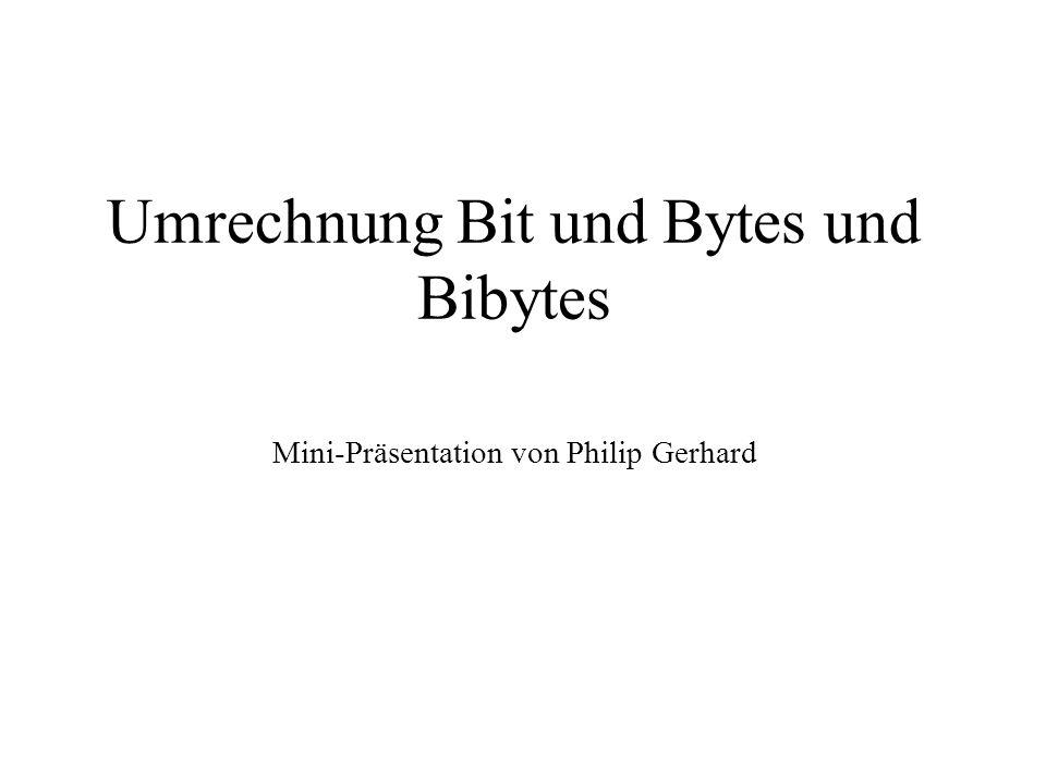Umrechnung Bit und Bytes und Bibytes