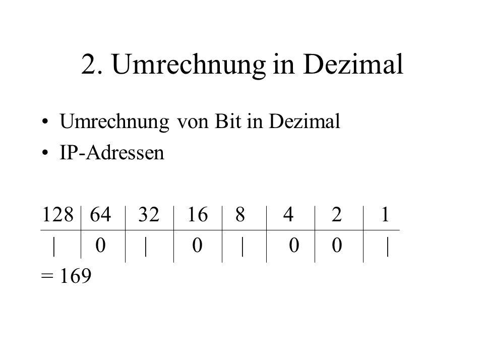 2. Umrechnung in Dezimal Umrechnung von Bit in Dezimal IP-Adressen