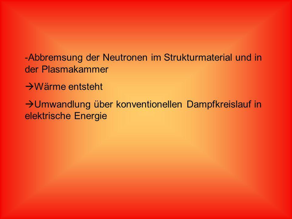 -Abbremsung der Neutronen im Strukturmaterial und in der Plasmakammer