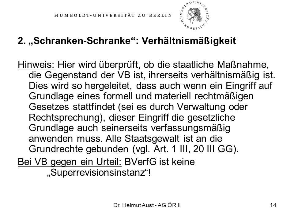 """2. """"Schranken-Schranke : Verhältnismäßigkeit"""