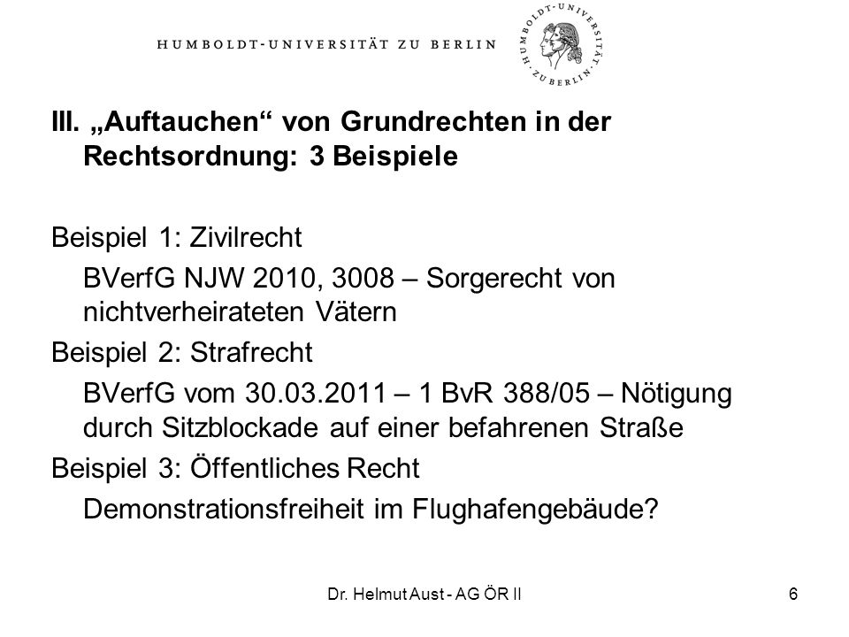 """III. """"Auftauchen von Grundrechten in der Rechtsordnung: 3 Beispiele"""